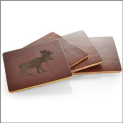 Imprinted Leather Coasters Pack